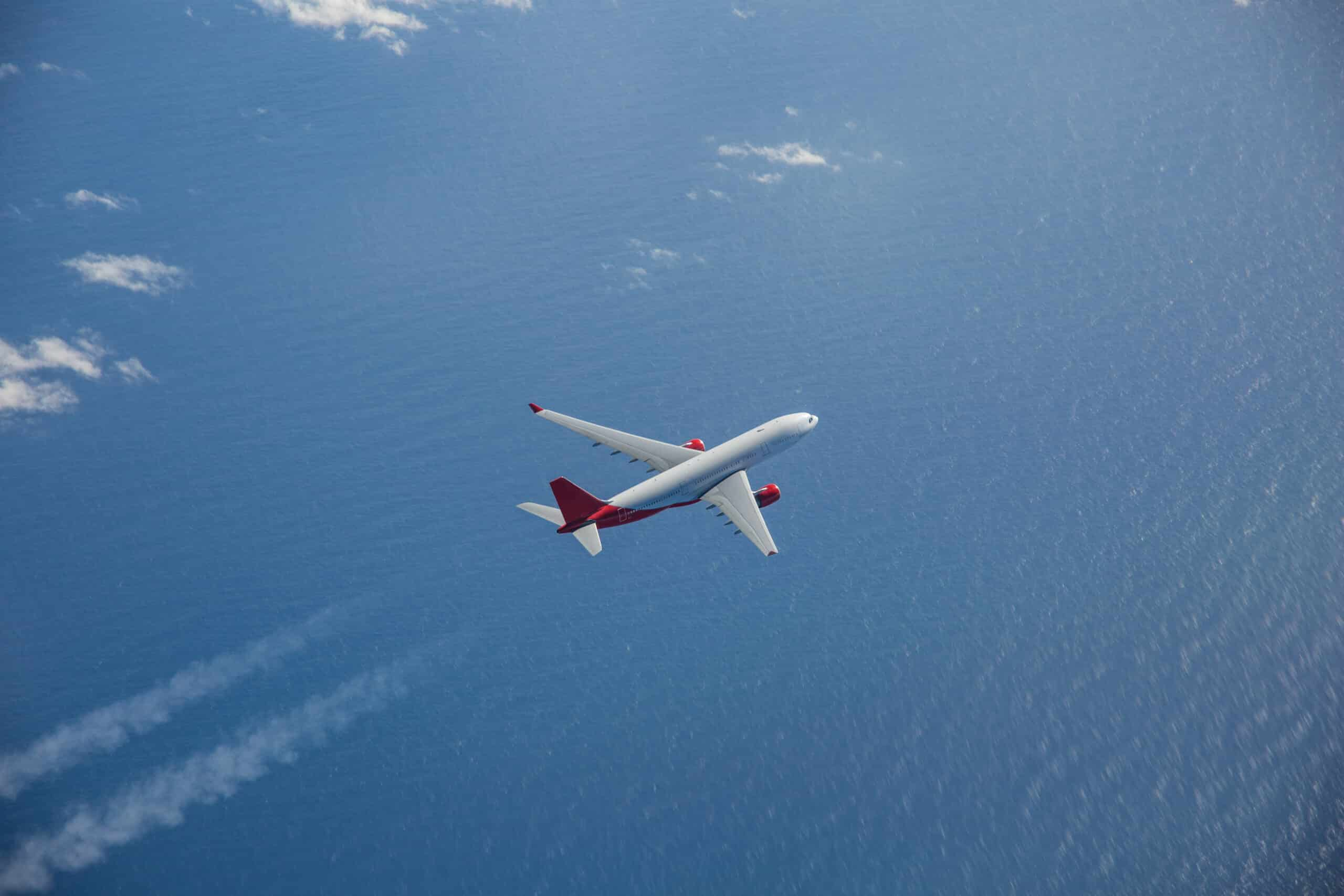 Picture of Airbus A330 flying over the ocean