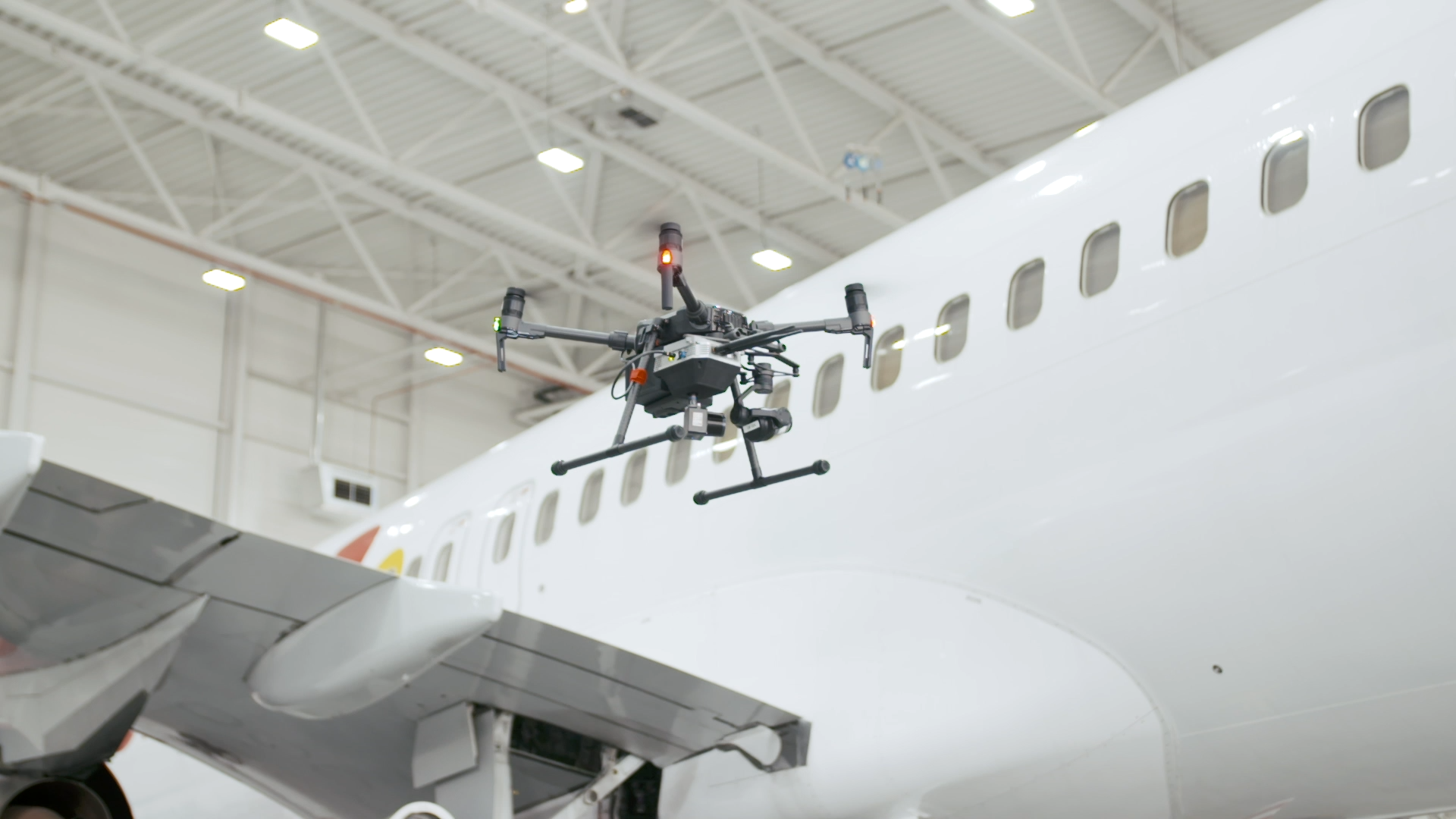 Picture of a Boeing 737 aircraft drone inspection