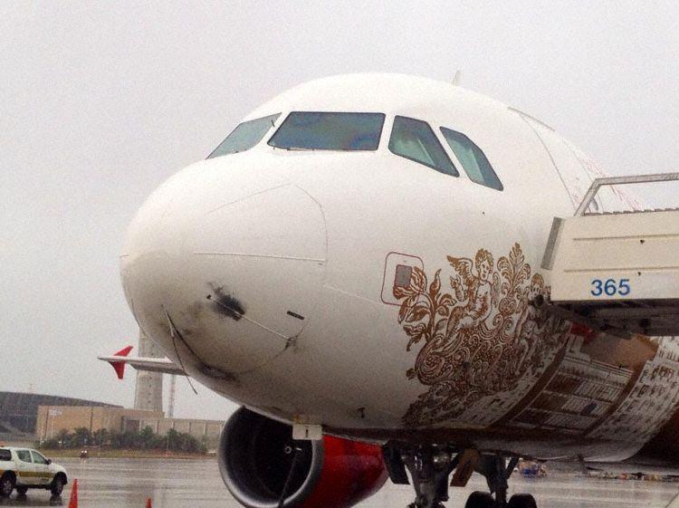 Picture Malta Airbus A320 lightning strike damage nose radome