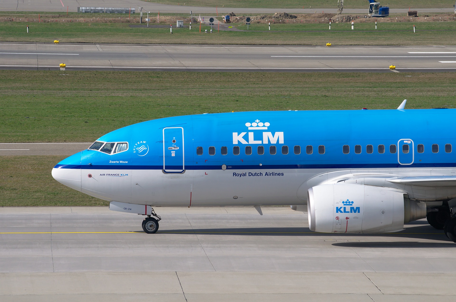 blue aircraft from KLM on airport