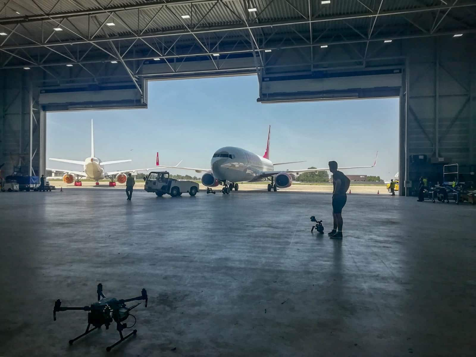 aircraft parking and drone inspection